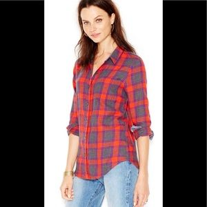 Lucky Brand Red Plaid Flannel Shirt